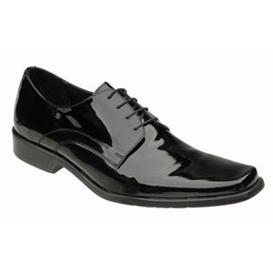 Black Genuine Patent Leather Square Toe Lace Up