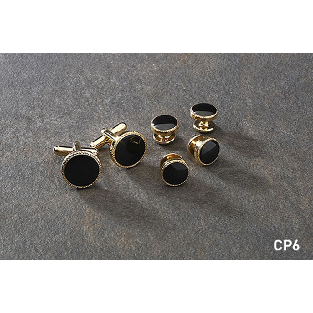 Gold and Black with Scroll Edge Cufflink and Stud Set